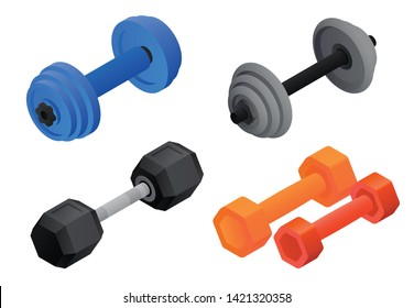 Dumbell equipment icons set. Isometric set of dumbell equipment vector icons for web design isolated on white background