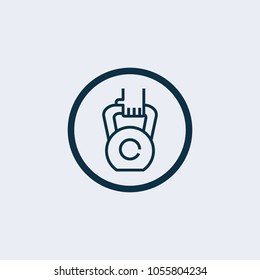 Dumbell icon, vector gym barbell, heavy weight lifting illustration
