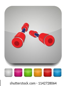dumbell icon, vector gym barbell, heavy weight lifting illustration, bodybuilding, sports icon