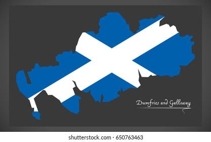 Dumfries and Galloway map with Scottish national flag illustration
