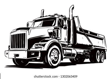 Dump Truck. Black and White illustration