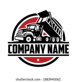 Dump truck company logo template. Ready made logo template set vector isolated