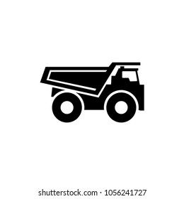 Dump Truck. Flat Vector Icon. Simple black symbol on white background