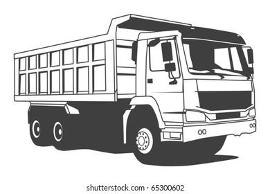 Dump truck hand draw illustration, vector