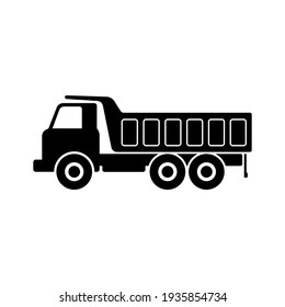Dump truck icon. Construction machinery. Black silhouette. Side view. Vector simple flat graphic illustration. The isolated object on a white background. Isolate.