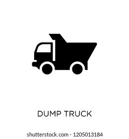 Dump truck icon. Dump truck symbol design from Construction collection. Simple element vector illustration on white background.