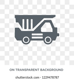 Dump truck icon. Trendy flat vector Dump truck icon on transparent background from Construction collection. High quality filled Dump truck symbol use for web and mobile