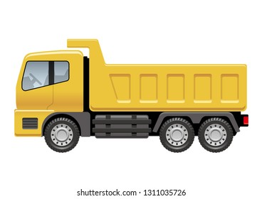 Dump truck isolated on a white background, vector illustration.