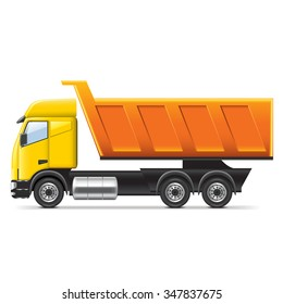 Dump truck isolated on white photo-realistic vector illustration