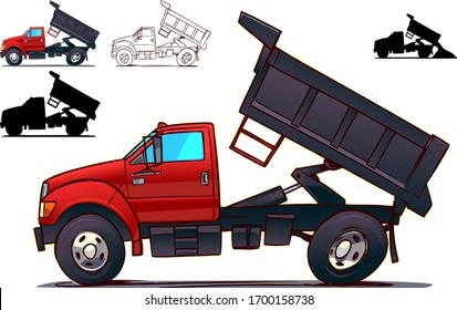Dump Truck. Side View Isolated on White. Cartoon Style Illustration.
