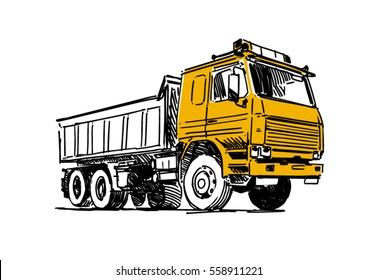 Dump truck sketch. Illustration isolated on white background