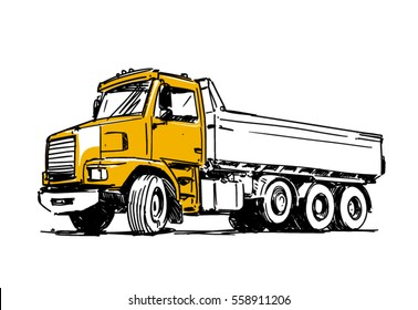 Dump truck sketch isolated on white background