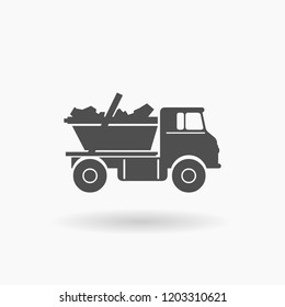 Dump Truck Skip Industrial Vehicle Icon Illustration silhouette.