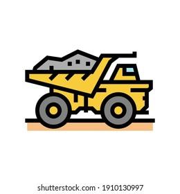 dump truck stone transportation color icon vector. dump truck stone transportation sign. isolated symbol illustration