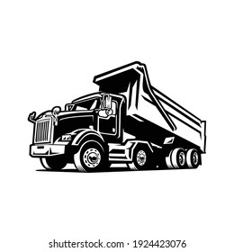 Dump truck, Tipper truck sihouette vector black and white isolated