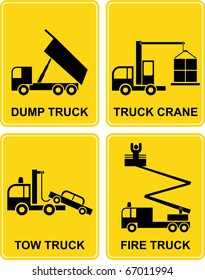 Dump truck, tow truck, fire truck and truck crane - set vector signs. Yellow and black isolated illustrations. Transportation icons.