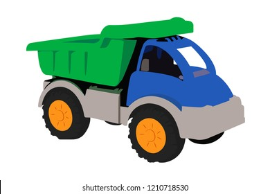 dump truck toy realistic vector illustration isolated