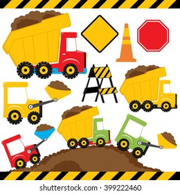 Dump truck and under construction vector illustration