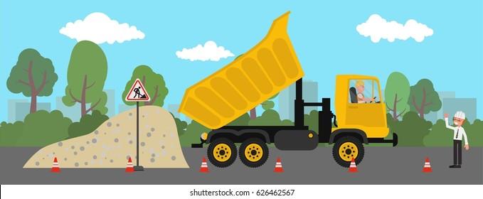 The dump truck unloads rubble on the construction site. Vector illustration, a flat style design.