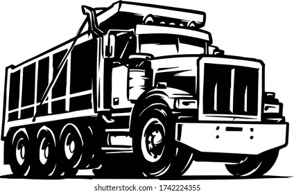 Dump Truck Vector Illustration Isolated on white background. Tipper Truck
