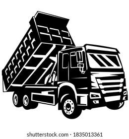 dump truck vector on black and white background, dump truck silhouette, american dump truck