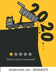Dump Truck at work on the construction site, Happy New Year 2020, 2021 card, vector illustration