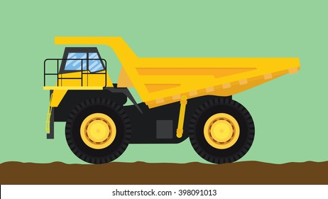 dump truck yellow isolated with big wheel and dirt