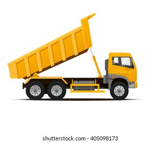Dumper Truck Dumped. Vector illustration.