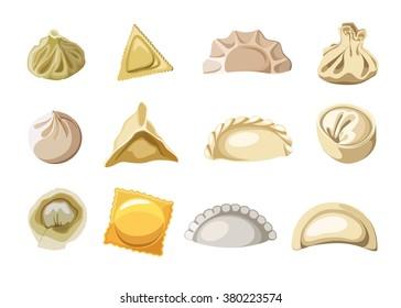 dumplings of dough set, Vector illustration