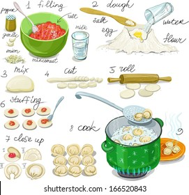 Dumplings with meat. Instruction in Picture Cooking dumplings with meat, pelmeni. Paste Products stuffed with minced meat for family dinner and celebration. Russian cuisine.