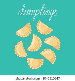 Dumplings (pierogi, varenyky, pelmeni, ravioli) set. Dumplings isolated on background. Polish cuisine. Eastern european cuisine. Vector hand drawn illustration.