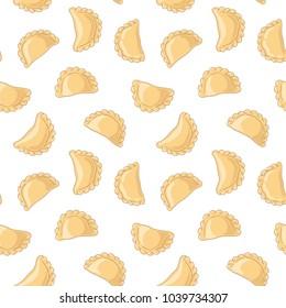 Dumplings (pierogi, varenyky, pelmeni) seamless pattern. Dumplings on white background. Polish cuisine. Eastern european cuisine. Vector hand drawn illustration seamless pattern.