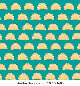 Dumplings (pierogi, varenyky, pelmeni) seamless pattern. Dumplings arranged in rows on background. Polish cuisine. Eastern european cuisine. Vector hand drawn illustration seamless pattern.