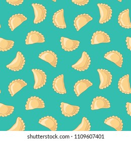 Dumplings (pierogi, varenyky, pelmeni) seamless pattern. Dumplings on background. Polish cuisine. Eastern european cuisine. Vector hand drawn illustration seamless pattern.