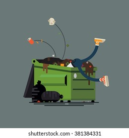 Dumpster diving funny vector illustration. Binner person salvaging things and items sifting through commercial or residential waste container, isolated.