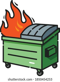 Dumpster Fire Filled Outline Icon