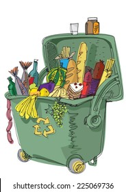 dumpster full of food - concept - cartoon