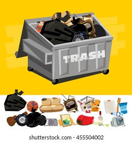 Dumpster full of Garbage with Trash Digging - Vector illustration