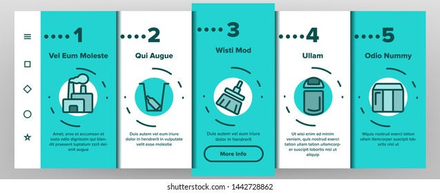 Dumpster, Garbage Container Onboarding Mobile App Page Screen Vector. Dumpster, Trash Illustrations. Litter Recycling Factory. Plastic Dustbins, Metal Containers. Baskets for Waste Separating