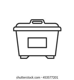 Dumpster icon. Garbage container thin line design