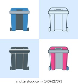 Dumpster icon set in flat and line style. Garbage container symbol. Vector illustration.