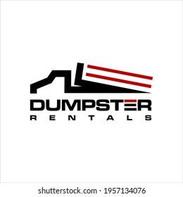 Dumpster Logo Design Dump Truck Vector, Line Red Container Graphic Element Idea