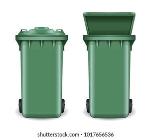 Dumpster in open and closed condition. Trash can on wheels. Green recycling bin bucket for trash. Realistic vector illustration isolated on white background