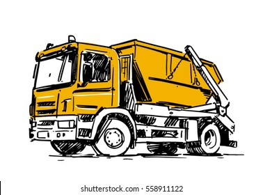 dumpster truck sketch isolated on white background