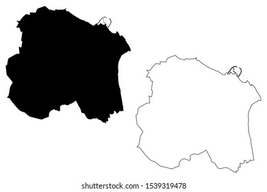 Dun Laoghaire–Rathdown County Council (Republic of Ireland, Counties of Ireland) map vector illustration, scribble sketch Dun Laoghaire Rathdown map