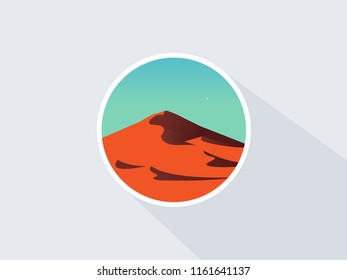 Dune illustration on clear sky. Desert landscape vector icon. Natural sand dunes in clear sky. Vector flat illustration. Long shadow.