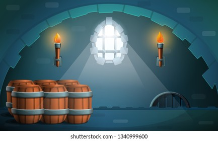 dungeon castle with barrels and torches, vector illustration