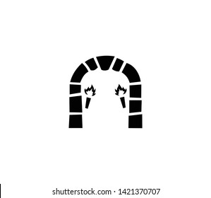 Dungeon gate vector isolated flat illustration. Dungeon gate icon