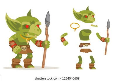Dungeon monster goblin evil minion fantasy medieval action game RPG character layered animation ready character vector illustration