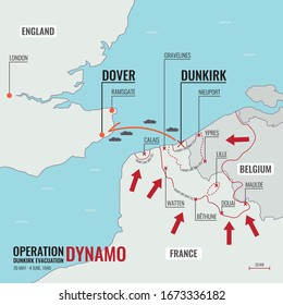 Dunkirk Evacuation / Operation Dynamo during World War II map route